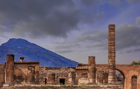 Photo for Pompeii and Vesuvius at Dusk - Royalty Free Image