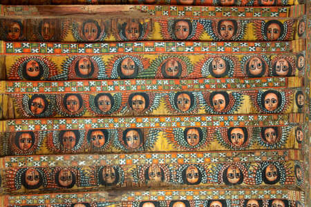Photo for Unique ceiling paintings in Debre Birhan Selassie church, Gondar, Ethiopia. - Royalty Free Image