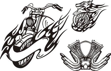 Motorcycle in the form of a wolf and the carburettor. Tribal bikes. Vector illustration ready for vinyl cutting.