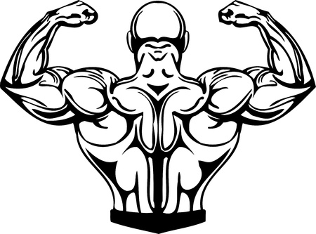 Illustration for Bodybuilding and Powerlifting - vector illustration. - Royalty Free Image
