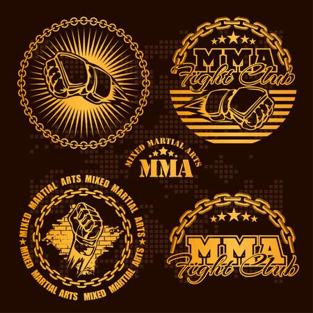MMA mixed martial arts emblem badges - vector set. Gold style.