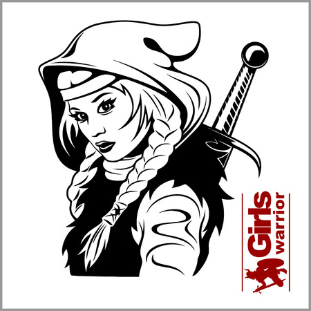 Ilustración de Vector Black and White Warrior Woman Illustration - Imagen libre de derechos