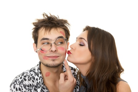Photo for funny guy nerdy and glamorous girl in a Valentine - Royalty Free Image