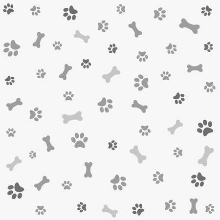 Illustration pour Background with dog paw print and bone - image libre de droit