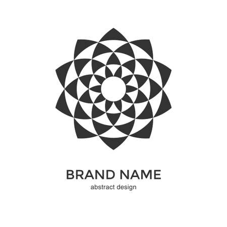 Illustration pour Abstract geometric flower logo. Black and White Circular Fractal Design. Digital flower icon. Lotus symbol. Simple logotype template. Vector illustration. - image libre de droit