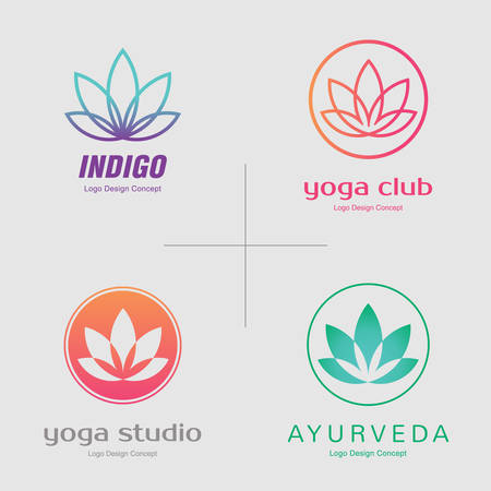 Abstract flower design. Line creative symbol. Universal icon. Lotus yoga spa sign. Simple logotype template for premium business. Vector illustration.