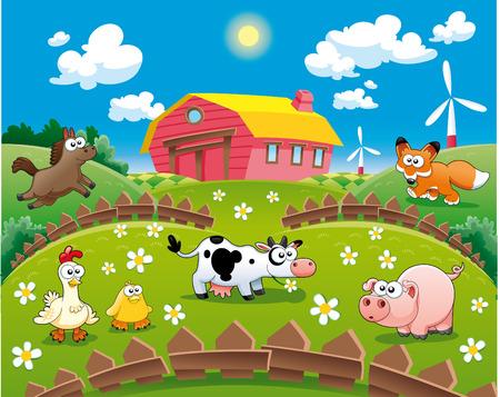 Farm illustration. Funny cartoon