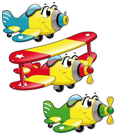 Cartoon airplanes. Funny vector characters, isolated objects