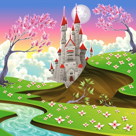 Panorama with castle. Cartoon and vector illustration. mural