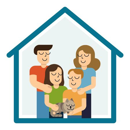 Illustrazione per Concept housing a young family. Mother, father, son, daughter and cat in new house with a roof. Simple style vector design illustrations. - Immagini Royalty Free