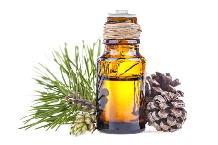 Foto de Essential oil made from pine on a white background - Imagen libre de derechos