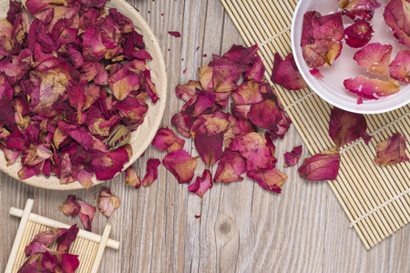 Dried rose petals for natural herbal drink.