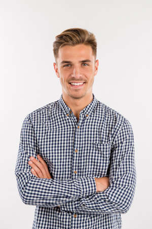 Photo for handsome man in shirt smiling - Royalty Free Image