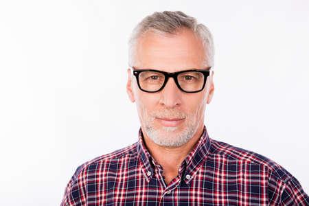 Photo pour Portrait of aged handsome man with glasses - image libre de droit