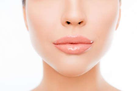 Foto de Close up photo of woman's face with perfect skin and lips - Imagen libre de derechos