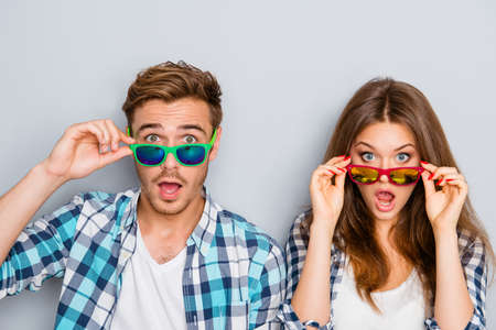 Photo for Wow! Surprised man and woman in glasses with open mouth - Royalty Free Image