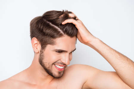 Photo for Portrait of smiling man showing his healthy hair without furfur - Royalty Free Image