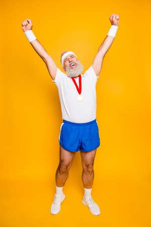 Photo for Full length of best successful motivated insane active modern cool funny grandpa celebrating. Body, health, care, lifestyle, game, challenge, champ, hero, leisure, training, workout - Royalty Free Image