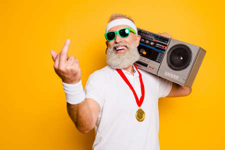 Foto de Crazy aged rude sporty funny sexy athlete grandpa in eyewear with recorder. Old school, swag, fooling around, gym, workout, technology, groove, stereo sound, funky leisure, chill, young - Imagen libre de derechos