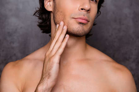 Photo for Barber shop, beard cut, shaving and styling concept. Close up cropped portrait of nude hot guy, touching his bristle, chin, has perfect skin and hair, isolated on grey background - Royalty Free Image