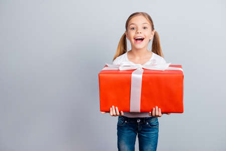 Foto de Mother's day fashion beauty leisure face growing-up sale discount relationship concept. Astonished amazed wondered lovely with ponytails sweet girl holding huge wrapped box isolated on gray background - Imagen libre de derechos
