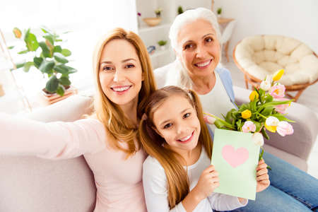 Foto de Modern technology sweet memories congrats greetings handmade crafts face closeup rest relax concept. Portrait of adorable cheerful lovely excited careless three family members taking making selfie - Imagen libre de derechos