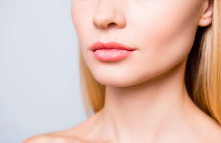 Photo for Close up cropped photo of big natural woman's lips without lipstick and perfect skin. - Royalty Free Image