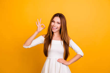Photo for I'll do it for you! People person long brunette haircut confidence advertising recommending vogue concept. Portrait of excited lovely beautiful attractive lady making ok symbol isolated on background - Royalty Free Image