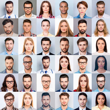 Photo pour Collage of many diverse, multi-ethnic people's close up heads, beautiful, attractive, handsome, pretty expressing concentrated, thoughtful, dreamy emotions, isolated on grey background - image libre de droit
