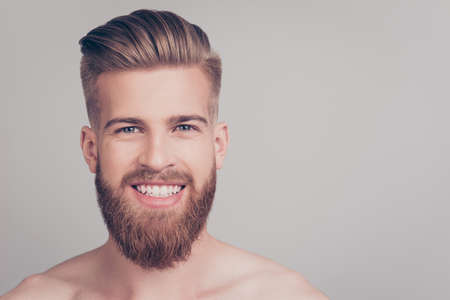 Photo for Close up portrait of cheerful handsome attractive excited satisfied emotional brutal kind friendly attractive stunning macho with stylish modern haircut isolated on gray background copy-space - Royalty Free Image