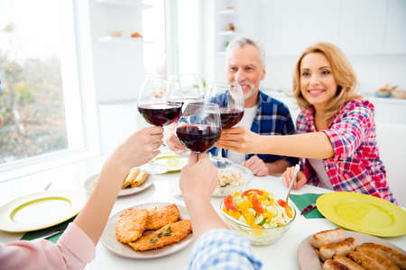 Photo pour Portrait of stylish, attractive, cheerful senior couple enjoying dinning with children in house, apartment clinking glasses with red wine, alcohol, having appetizing dishes on the table - image libre de droit