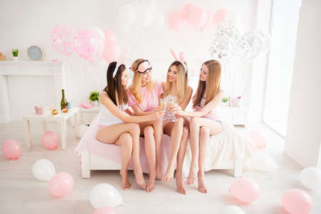Photo pour Full length size fullbody portrait of attractive, charming, blonde, brunette, slim, cheerful, stylish, pretty, sexy models in night wear enjoying them party in apartment - image libre de droit