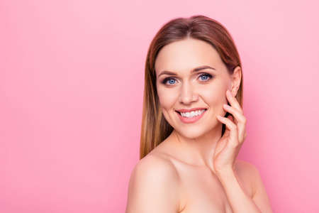 Photo pour Correction enjoy fresh facelift model wellness wellbeing apply smear feminine girlish concept. Close up portrait of beautiful attractive lady touching cheek with fingers isolated background copy-space - image libre de droit