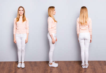 Foto de Collage from three sides of charming pretty modern trendy confident woman in white pants sweater sneakers standing on wooden floor over grey background - Imagen libre de derechos