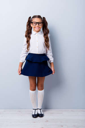 Foto de Full body size length of nice cute cheerful adorable lovely stylish little small girl with curly ponytails in white formal blouse shirt, short blue skirt. Isolated over grey background - Imagen libre de derechos