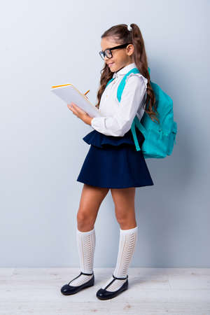 Foto de Full size body length of nice smart cute cheerful stylish adorable small little girl with curly pigtails in white blouse shirt and blue skirt, writing notes in book. Isolated over grey background - Imagen libre de derechos