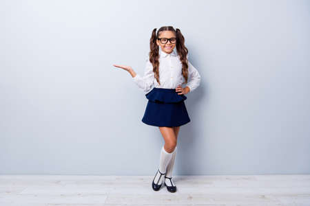 Foto de Full body size length of cute cheerful lovely stylish small little girl with curly ponytails in white formal blouse shirt, short blue skirt, empty blank copy-space. Isolated over grey background - Imagen libre de derechos