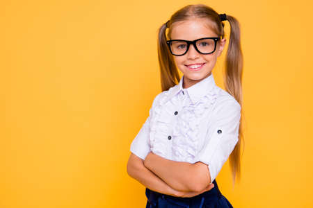 Foto de Academic knowledge intellectual people person concept. Close up photo portrait of sweet adorable lovely with two pigtails long hairdo crossed hands girl isolated bright vivid color background - Imagen libre de derechos
