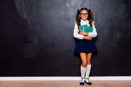 Foto de Full size body length of glad positive nice adorable cute small little girl with curly ponytails in white blouse shirt and skirt, carrying, hugging big book pile. Isolated over black background - Imagen libre de derechos