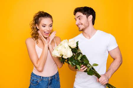 Photo pour Pleasure joy happiness daydream honeymoon concept. Portrait of h - image libre de droit