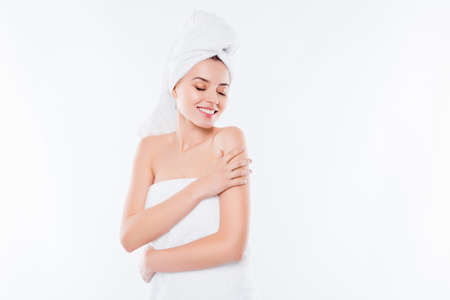 Photo pour Portrait of charming sensual girl after shower with towel - image libre de droit