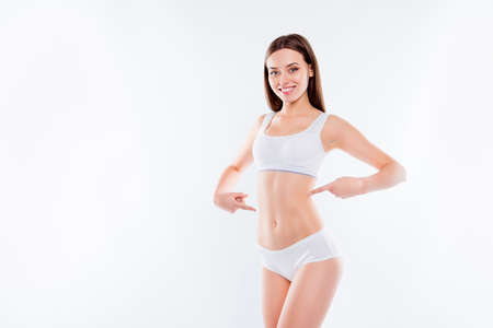 Photo for Portrait of joyful thin woman in white cotton underwear bikini - Royalty Free Image