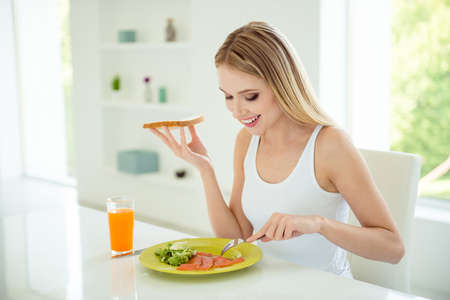Foto de Weightloss person bread seafood fillet dining concept. Pretty sa - Imagen libre de derechos