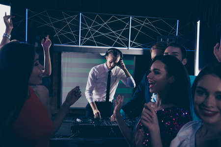 Photo for Trendy handsome serious professional DJ, gentleman, playing, mix - Royalty Free Image
