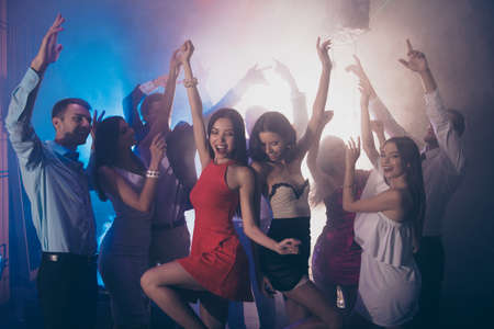 Photo pour Welcome to the best night party Two fancy ladies dancing - image libre de droit