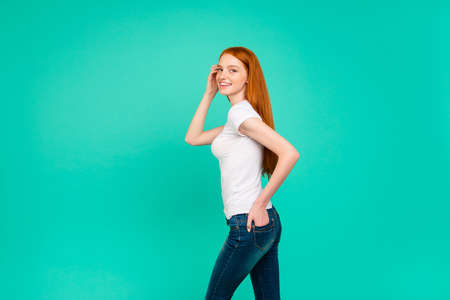 Photo for Profile side view of nice attractive cute positive cheerful bright lady - Royalty Free Image