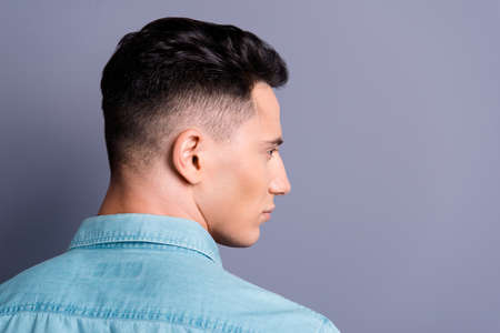 Photo for Rear back profile side view of attractive handsome cool confiden - Royalty Free Image