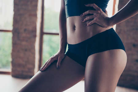 Photo for Cropped close-up belly graceful beautiful strong model sporty - Royalty Free Image