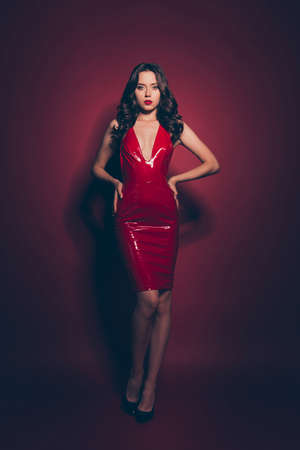 Foto de Full length body size vertical elegant brunette wearing red dress - Imagen libre de derechos