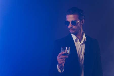 Photo pour Portrait of nice content attractive handsome man wearing black jacket - image libre de droit